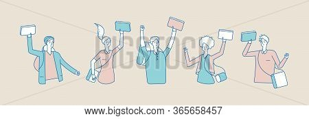 Happy Teenagers With Books. Students, Boys Girls Textbooks. Isolated Flat Joyful Young People Vector