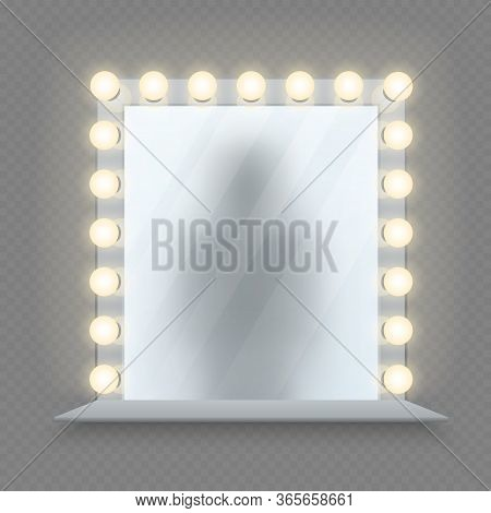 Realistic Makeup Mirror. Glass In Bulbs Frame With Table. Shadow Reflection, Equipment For Dressing