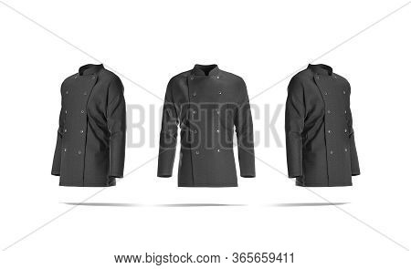 Blank Black Chef Jacket With Buttons Mockup, Front And Side View, 3d Rendering. Empty Protect Chief-