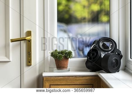 Sas Gas Mask By The Entry Door, On The Windowsill. Home Isolation.
