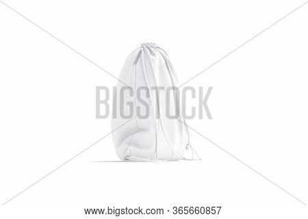 Blank White Drawstring Backpack Mock Up, Side View, 3d Rendering. Empty Cotton Backpacking For Packa