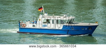 Kehl, Germany - May 9, 2020: Polizei Police Surveillance Boat From La Compagnie Fluviale Franco-alle