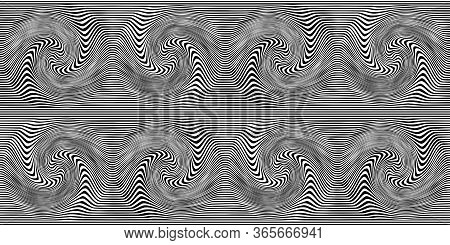 Distorted Lines Background. Illusive Movement Design. Line Art Optical Art. Psychedelic Background.