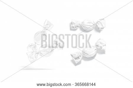 Blank White Hard Candy Foil Wrapper Mock Up, Different Views, 3d Rendering. Empty Sweetmeat Swirl Pa