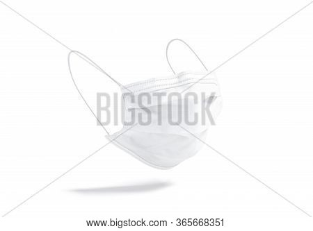 Blank White Medical Protection Mask Mock Up, No Gravity, 3d Rendering. Empty Healthcare Protective V