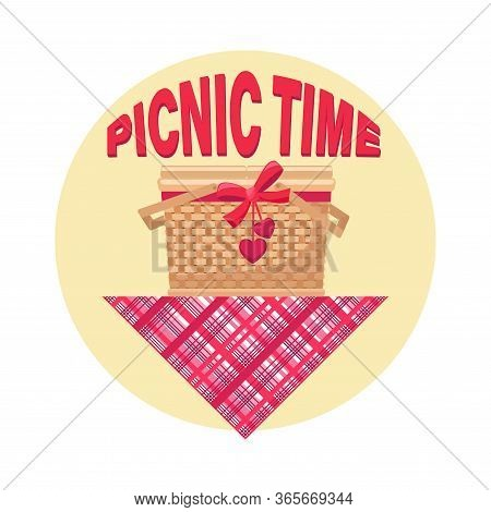 Basket Lunch. Picnic Time. Picnic At The Park. Bbq Time. Vector Illustration