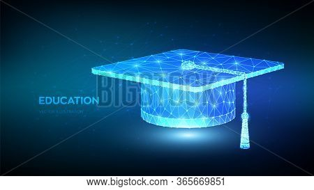 Abstract Low Polygonal Graduation Cap. Student Hat. E-learning Concept. Innovative Online Education.