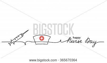 Happy Nurse Day Simple Vector Background With Syringe, Nurse Cap Or Hat. Minimalist Web Banner. Nurs