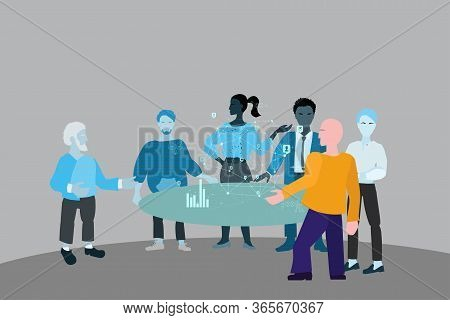 Online Briefing And Live Conference. Workflow Remotely, A Group Of People Stands Near A Table In The