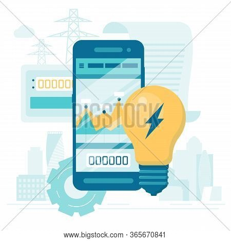 Utility Bills And Saving Resources Concept. Flat Vector Concept