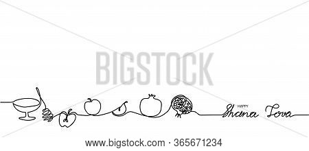 Happy Shana Tova Simple Black And White Web Banner, Background. Shana Tova One Continuous Line Drawi