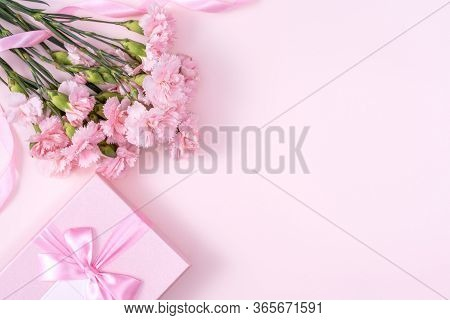 Mother's Day, Valentine's Day Background Design Concept, Beautiful Pink Carnation Flower Bouquet On