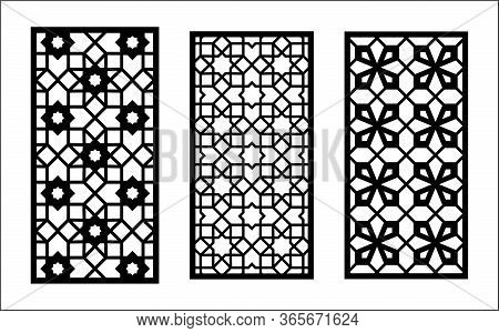 Islamic Laser Pattern. Set Of Decorative Vector Panels For Laser Cutting. Islamic Template For Inter