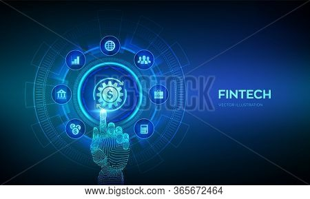 Fintech. Financial Technology, Online Banking And Crowdfunding. Business Investment Banking Payment