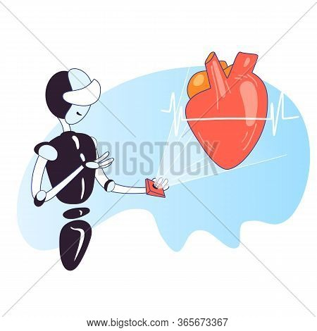 Vector Concept About Innovative Technology In Heart Health Check Up. Artificial Intelligence Robot D