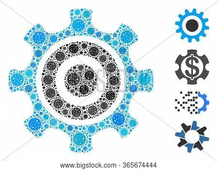 Mosaic Cogwheel Organized From Coronavirus Icons In Various Sizes And Color Hues. Vector Infection I