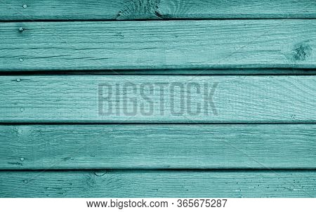 Wooden Planks Background In Cyan Color. Abstract Background And Texture For Design.