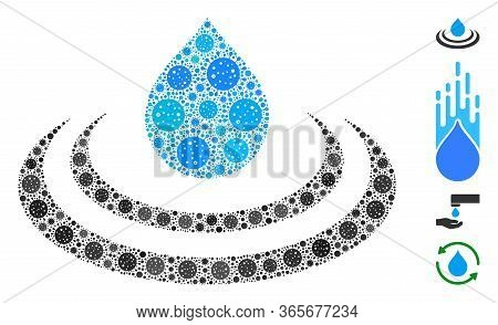 Mosaic Drop Ripple Designed From Flu Virus Items In Variable Sizes And Color Hues. Vector Pathogen I
