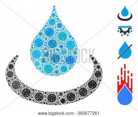 Collage Drop Ripple Organized From Coronavirus Icons In Variable Sizes And Color Hues. Vector Infect