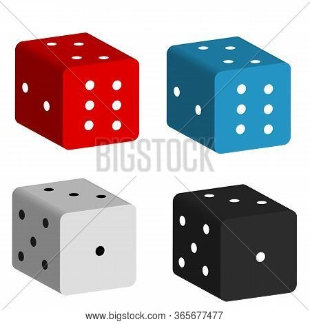 Game Dice Icon On White Background. Flat Style. Casino Gambling Icon For Your Web Site Design, Logo,