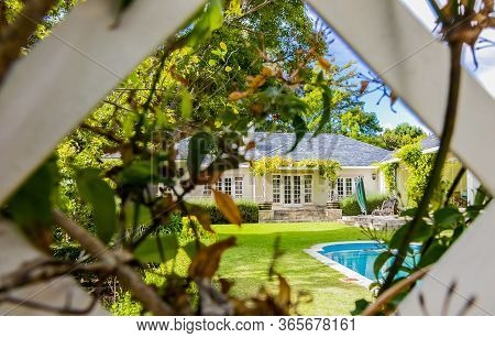 Cape Town, South Africa - February 6, 2020: Wide Angle View Of Exterior Of Upmarket Wealthy Suburban
