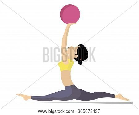 Young Woman Does Exercises With The Ball Illustration. Young Woman With Lithe Figure Doing Sport Exe
