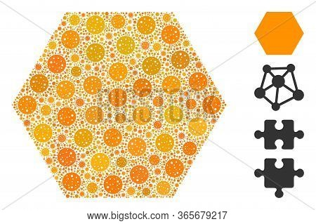Collage Filled Hexagon Organized From Coronavirus Icons In Various Sizes And Color Hues. Vector Infe