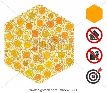 Mosaic Filled Hexagon United From Flu Virus Icons In Different Sizes And Color Hues. Vector Pathogen