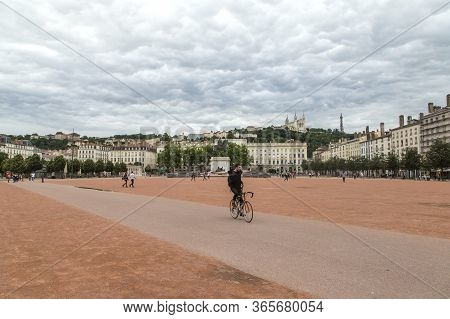 Lyon, France - June 11, 2018 : View Bellecour Square With A Bronze Equestrian Statue Of Louis Xiv In