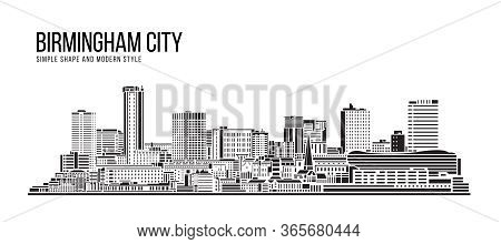 Cityscape Building Abstract Simple Shape And Modern Style Art Vector Design - Birmingham