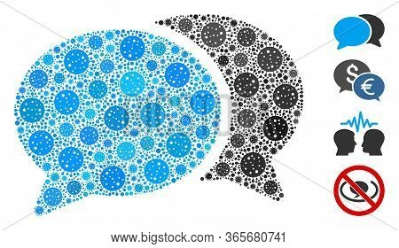 Mosaic Forum Chat Designed From Flu Virus Icons In Variable Sizes And Color Hues. Vector Infection P