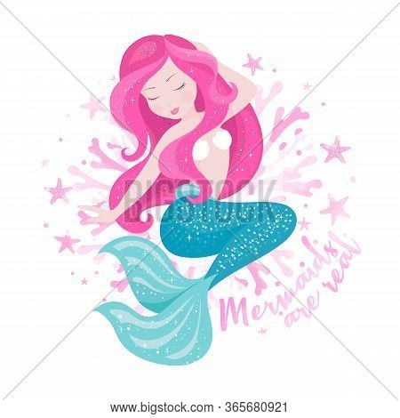 Art Mermaid With Corals. Fashion Illustration Drawing In Modern Style. Cute Mermaid. Girl Print. Mer