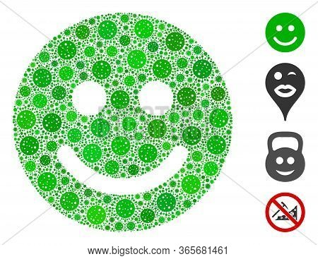 Mosaic Glad Smile United From Coronavirus Elements In Random Sizes And Color Hues. Vector Infection