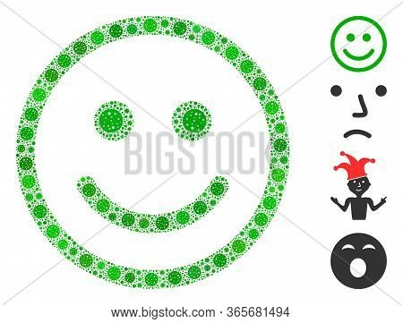 Collage Glad Smiley Composed Of Sars Virus Icons In Different Sizes And Color Hues. Vector Infection