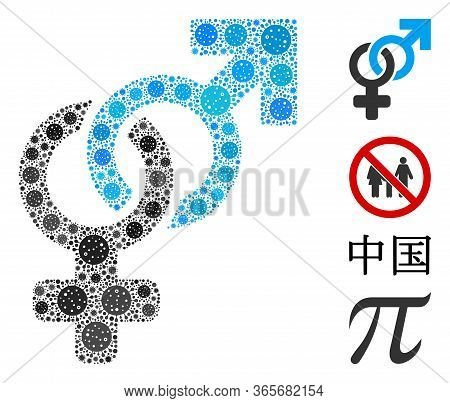 Collage Heterosexual Symbol Organized From Flu Virus Icons In Various Sizes And Color Hues. Vector V