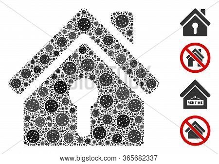 Collage Home Keyhole United From Flu Virus Icons In Random Sizes And Color Hues. Vector Viral Items