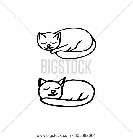Cats Sleep Set. Hand Drawn In Doodle Style. Elements Scandinavian Monochrome Minimalism Simple Vecto