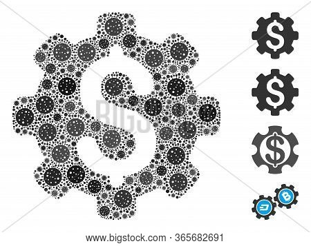 Mosaic Industrial Capital Designed From Sars Virus Icons In Variable Sizes And Color Hues. Vector Vi