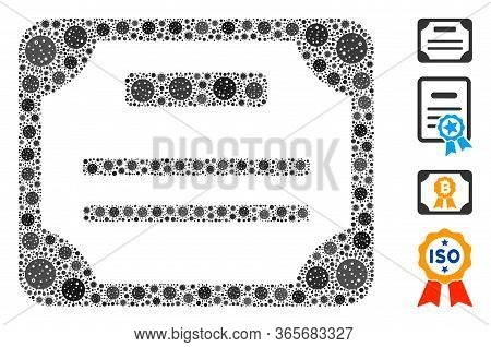Mosaic License Composed Of Flu Virus Icons In Various Sizes And Color Hues. Vector Infection Icons A