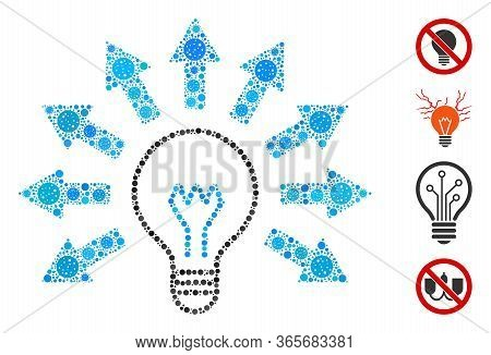 Mosaic Light Bulb Constructed From Flu Virus Icons In Various Sizes And Color Hues. Vector Infection