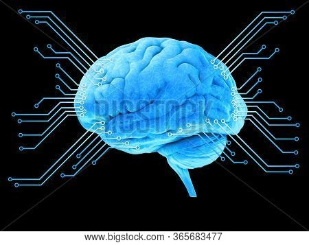 Digital Illustration Of Human Brain, Blue Digital Brain, Processor, 3d Rendering