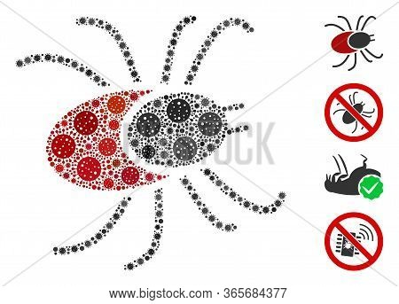 Mosaic Mite Tick United From Coronavirus Icons In Random Sizes And Color Hues. Vector Viral Icons Ar