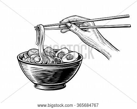 Hand Drawn Ramen Soup In A Black Bowl With Hand Holding Chopsticks.