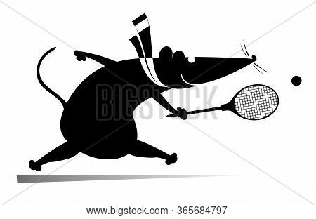 Funny Rat Or Mouse Plays Tennis Illustration. Cartoon Rat Or Mouse Plays Tennis Black On White