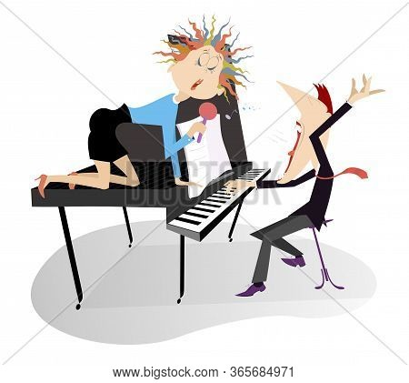 Singer Woman And A Pianist In The Concert Illustration. Pianist And Singer Woman Sits On The Piano,