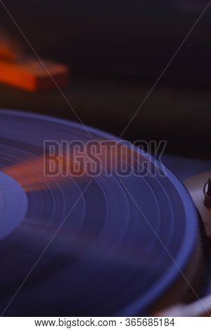 Old Vinyl Record With Clipping Path. Dj Turntable With Vinyl Record, Playing, Top View. Close Up At
