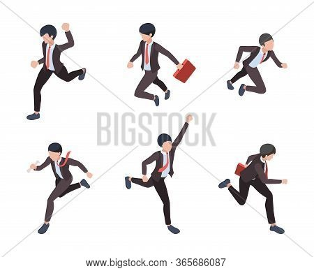 Businessman Running. People Managers Directors Running To Finish Line Career Growth Business Victory