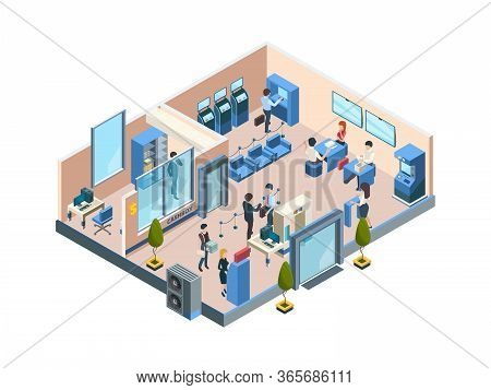 Bank Interior Isometric. Business Financial Offices With Different Banking Workers Managers And Clie