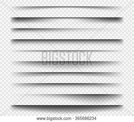 Realistic Shadows. Square Dividers Transparent Black Soft Shadows Template Overlay Panels For Web De