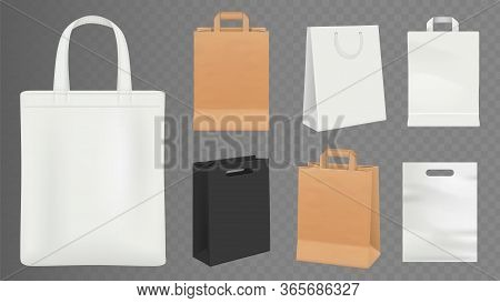 Paper Bags. Realistic Craft Shopping Bag, White And Black Packs Vector Illustration. Realistic Packa